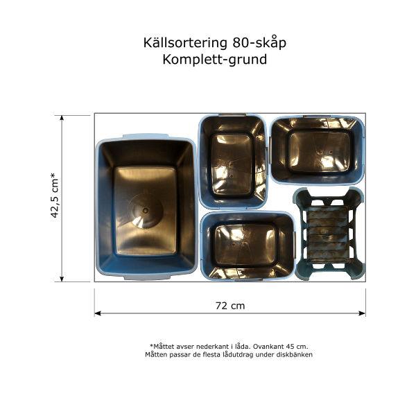Källsortera med Sopsorteringskärl - Komplett bas. För sortering i diskbänksskåp med utdragbar låda - bredd 80cm