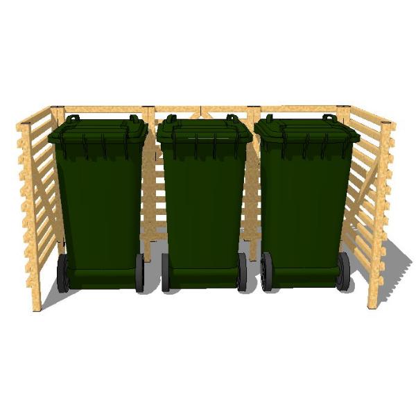 Sopkärlsskjul för 3 soptunnor